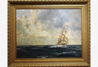 Морской пейзаж с парусником